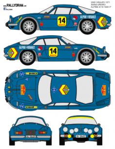 Renault Alpine a110 Sainz 2000 Virajes 1971
