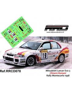 Mitsubishi Lancer Evo 3 Climent Romani Rally Montecarlo 1998