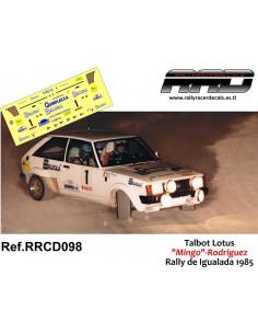 Talbot Lotus Mingo-Rodriguez Rally Igualada 1985