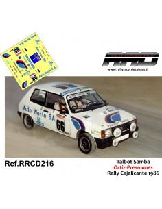 Talbot Samba Ortiz-Presmanes Rally Cajalicante 1986