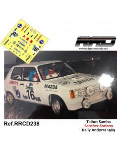 Talbot Samba Sanchez-Soriano Rally Andorra 1989