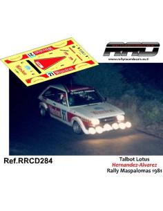 Talbot Sunbeam Hernandez-Alvarez Rally Maspalomas 1981
