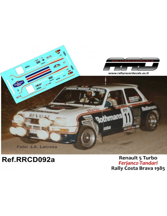 Renault 5 Turbo Ferjancz-Tandari Rally Costa Brava 1985
